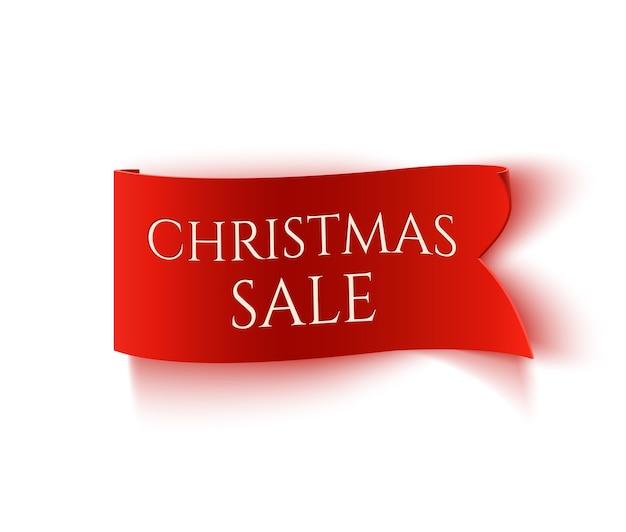 Venta de navidad, banner de papel rojo realista aislado sobre fondo blanco.