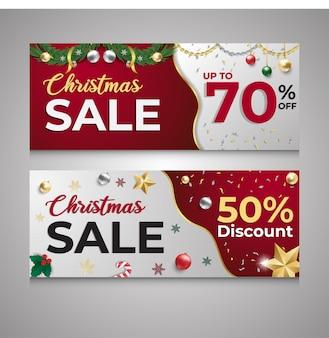 Venta de navidad descuento banner rojo y blanco