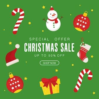 Venta de navidad con diseño de caramelos y esferas de muñeco de nieve, tema de oferta navideña.