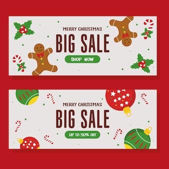Venta de navidad con diseño de esferas y pan de jengibre, tema de oferta navideña.