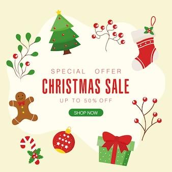 Venta de navidad con esfera de pan de jengibre de bota de pino y diseño de regalo, tema de oferta de navidad.