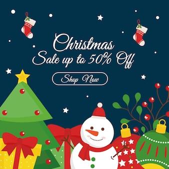 Venta de navidad con esferas de regalos de pino y diseño de muñeco de nieve, tema de oferta navideña.