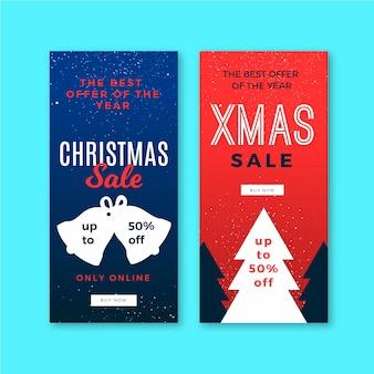 Venta de navidad pancartas en diseño plano