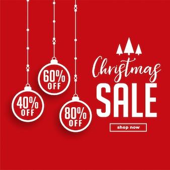 Venta de navidad roja con detalles de la oferta