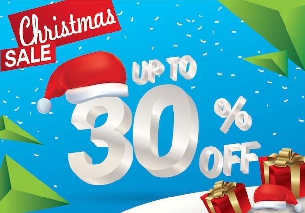 Venta navideña del 30 por ciento. fondo de venta de invierno con texto de hielo 3d con sombrero santa