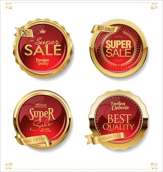 Venta de oro etiquetas colección retro diseño vintage