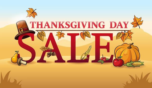 Venta de otoño de acción de gracias. banner publicitario. texto promocional, verduras, frutas y hojas de otoño.