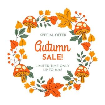 Venta de otoño banner dibujado a mano