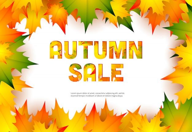 Venta de otoño banner minorista con hojas de arce de otoño