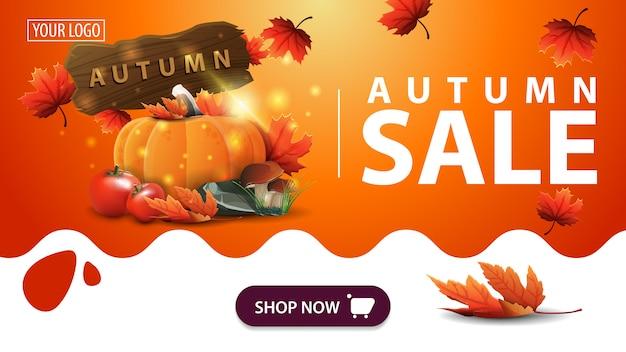 Venta de otoño, banner naranja con cosecha de verduras y un letrero de madera