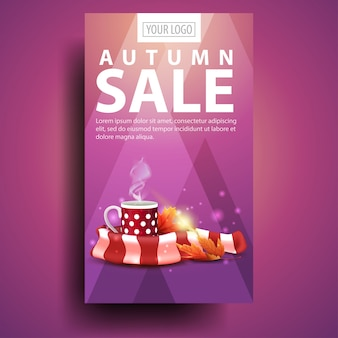 Venta de otoño, banner vertical moderno y elegante para su negocio con una taza de té caliente