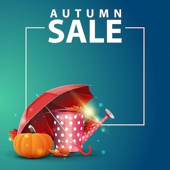 Venta de otoño y banner web cuadrado.