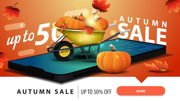 Venta de otoño, banner web descuento moderno con un smartphone.