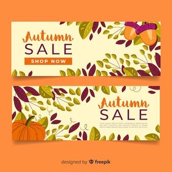 Venta de otoño banners diseño dibujado a mano