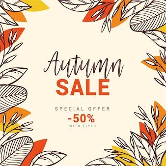 Venta otoño dibujado a mano con hojas