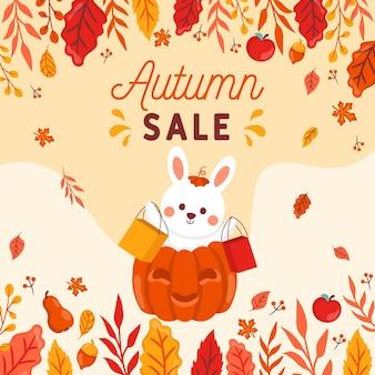 Venta de otoño dibujado a mano