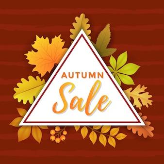 Venta de otoño con diseño de plantilla de traingle