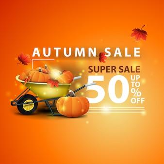Venta de otoño, dos pancartas con descuento horizontal en forma de cinta con carretilla de jardín