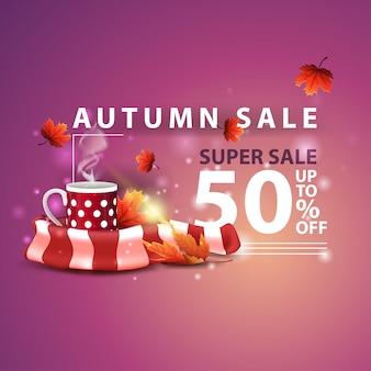 Venta de otoño, dos pancartas de descuento horizontal en forma de cinta con taza