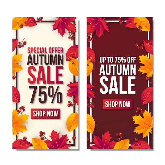 Venta de otoño establece fondo de banner con hoja. oferta especial hasta 75% premium vector