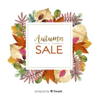Venta de otoño fondo estilo acuarela