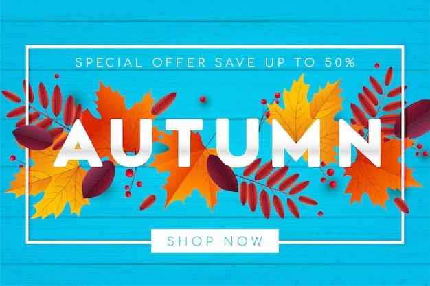 Venta de otoño de fondo con hojas.
