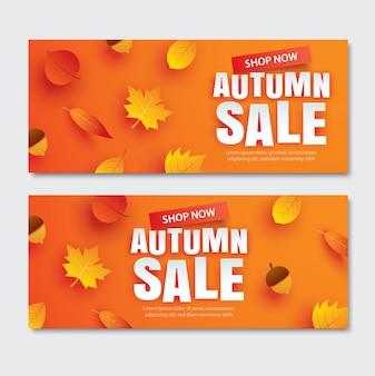 Venta de otoño con hojas en estilo de arte de papel sobre fondo naranja.