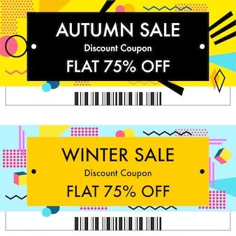 Venta de otoño o vales de descuento de venta de invierno.