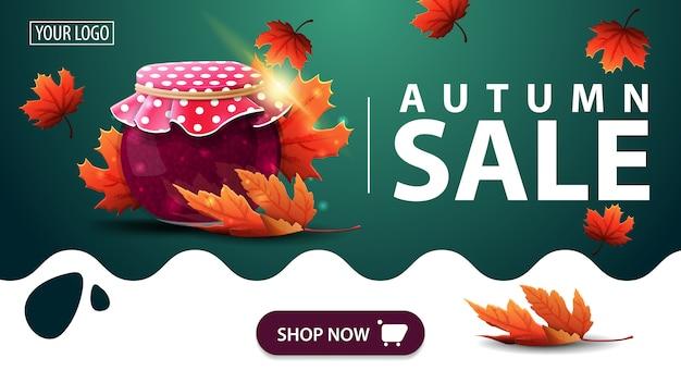 Venta de otoño, pancarta verde con tarro de mermelada y hojas de arce