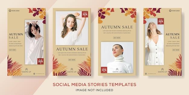 Venta de otoño para publicaciones de historias de instagram de redes sociales.
