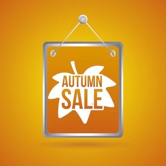 Venta de otoño sobre fondo naranja ilustración vectorial