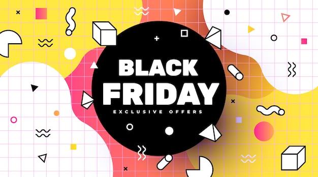 Venta de pancartas de viernes negro en estilo memphis