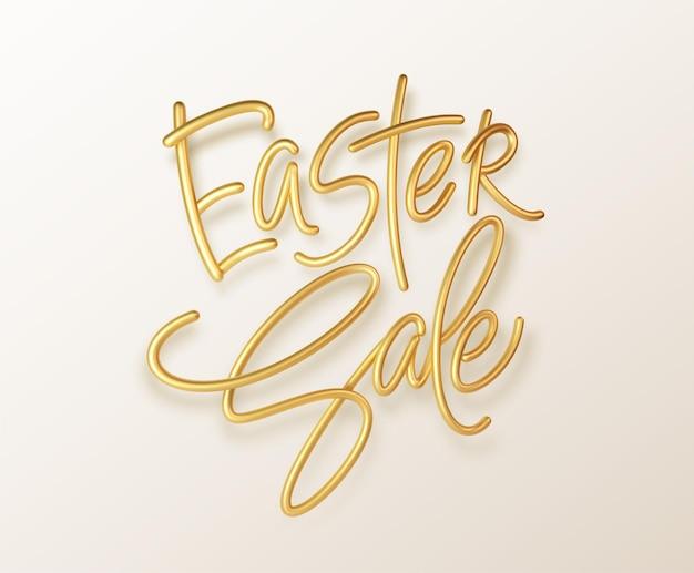 Venta de pascua de tipografía brillante metálico dorado. rotulación realista en 3d para el diseño de volantes, folletos, folletos, carteles y tarjetas. eps10