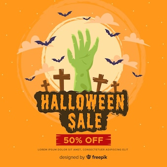 Venta plana de halloween con mano zombie