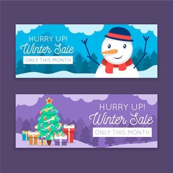 Venta plana invierno pancartas con primer plano muñeco de nieve y árbol de navidad
