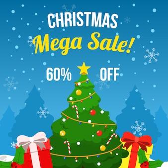 Venta plana de navidad con árbol de navidad y regalos