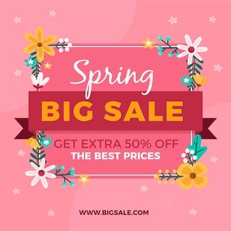 Venta plana de primavera con letras de gran venta