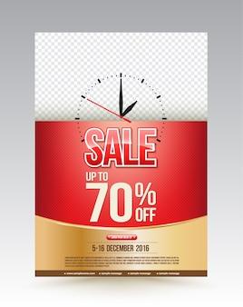 Venta de plantilla de diseño de cartel hasta el 70 por ciento.