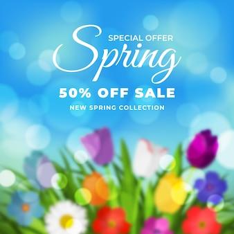 Venta de primavera borrosa con oferta especial