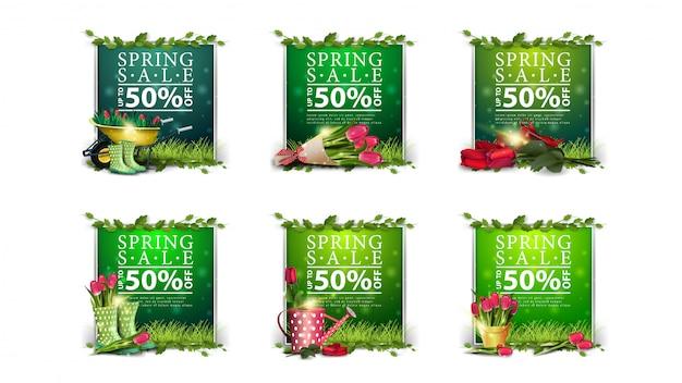 Venta de primavera, colección de greens de descuentos con pancartas de primavera y marco de liana
