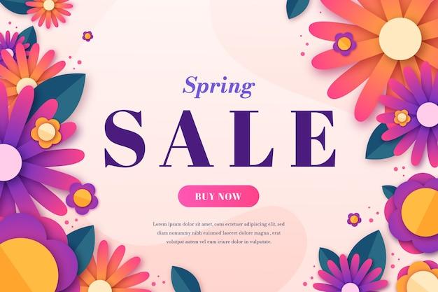 Venta de primavera colorida en estilo de papel