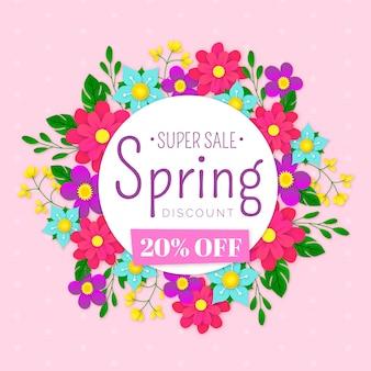 Venta de primavera colorida en tema de estilo de papel
