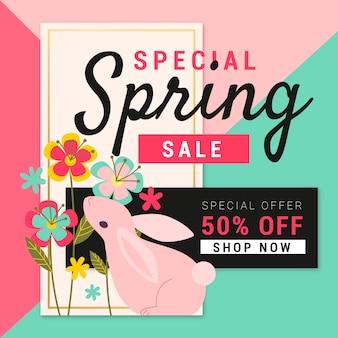 Venta de primavera de diseño plano con conejo y flores.