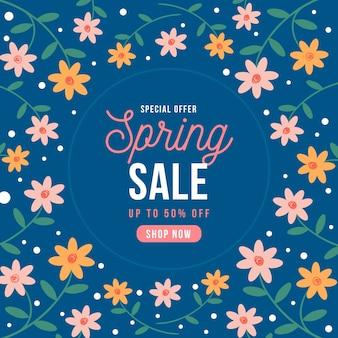 Venta de primavera de diseño plano con flores coloridas ditsy