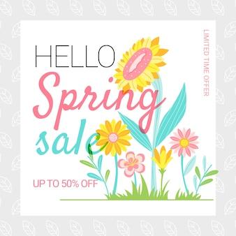 Venta de primavera de diseño plano con girasoles al aire libre