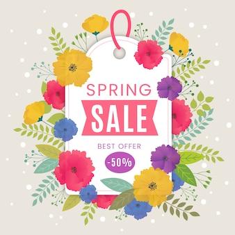 Venta de primavera de diseño plano con oferta