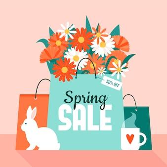 Venta de primavera en diseño plano