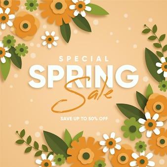 Venta de primavera en estilo papel.