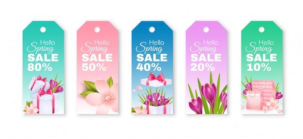 Venta de primavera. etiquetas