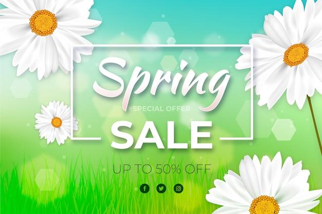 La venta de primavera floral borrosa ofrece diseño